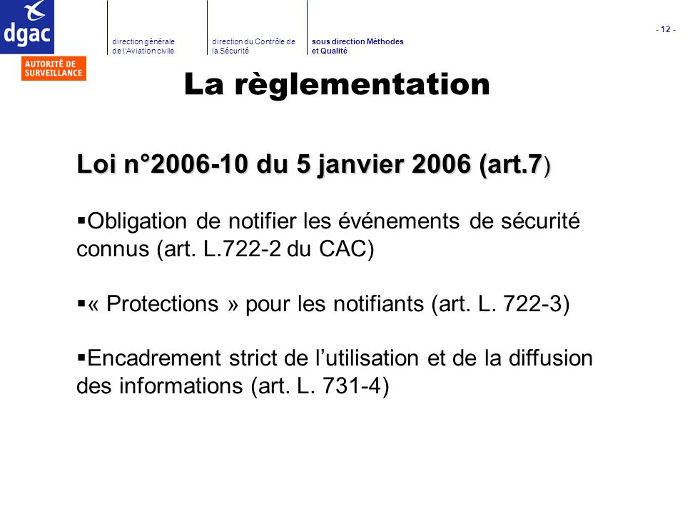 La règlementation Loi n°2006-10 du 5 janvier 2006 (art.7)