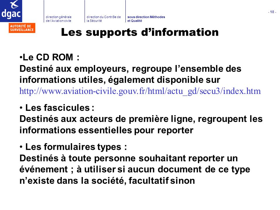 Les supports d'information