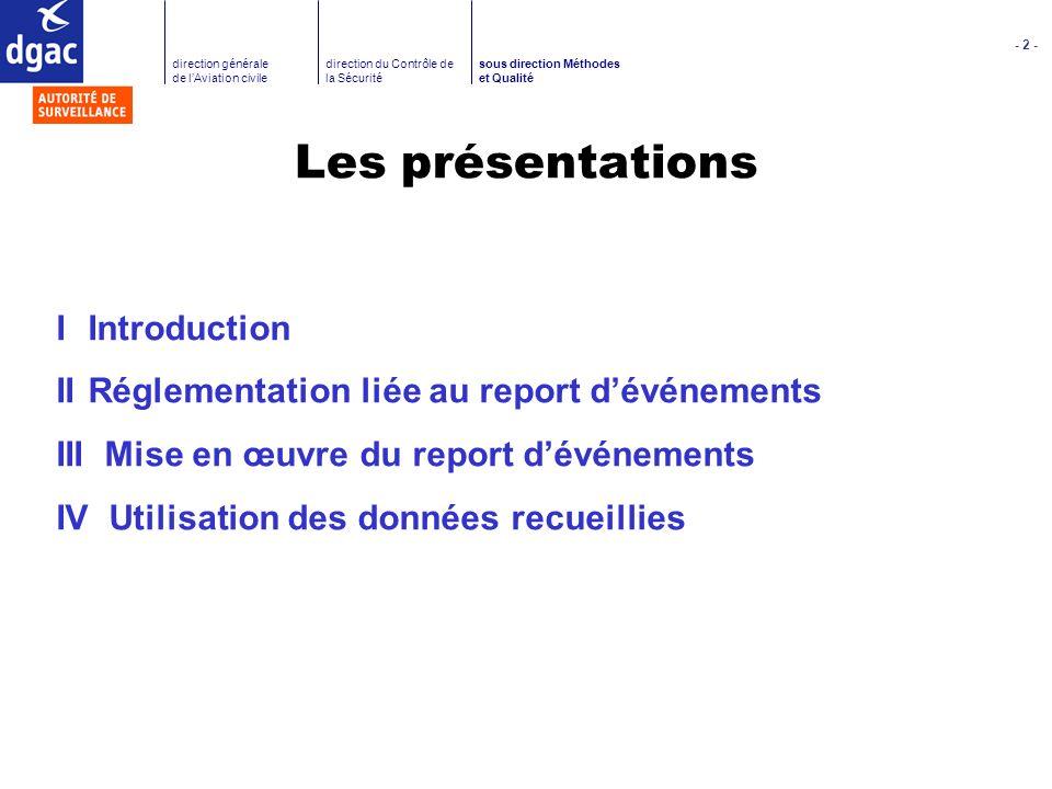 Les présentations I Introduction