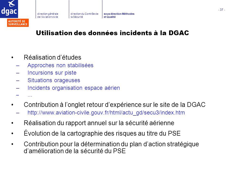 Utilisation des données incidents à la DGAC