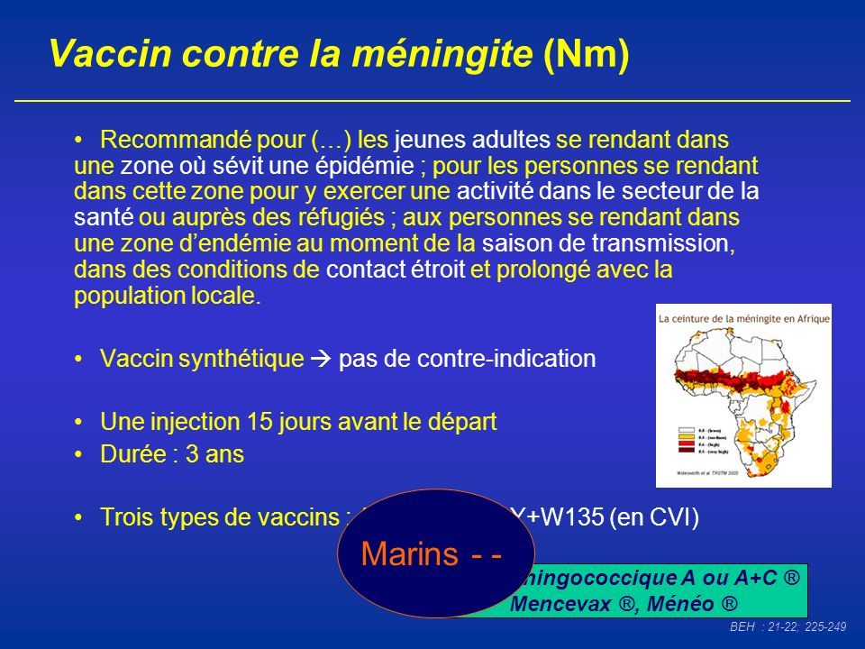 Vaccin contre la méningite (Nm)