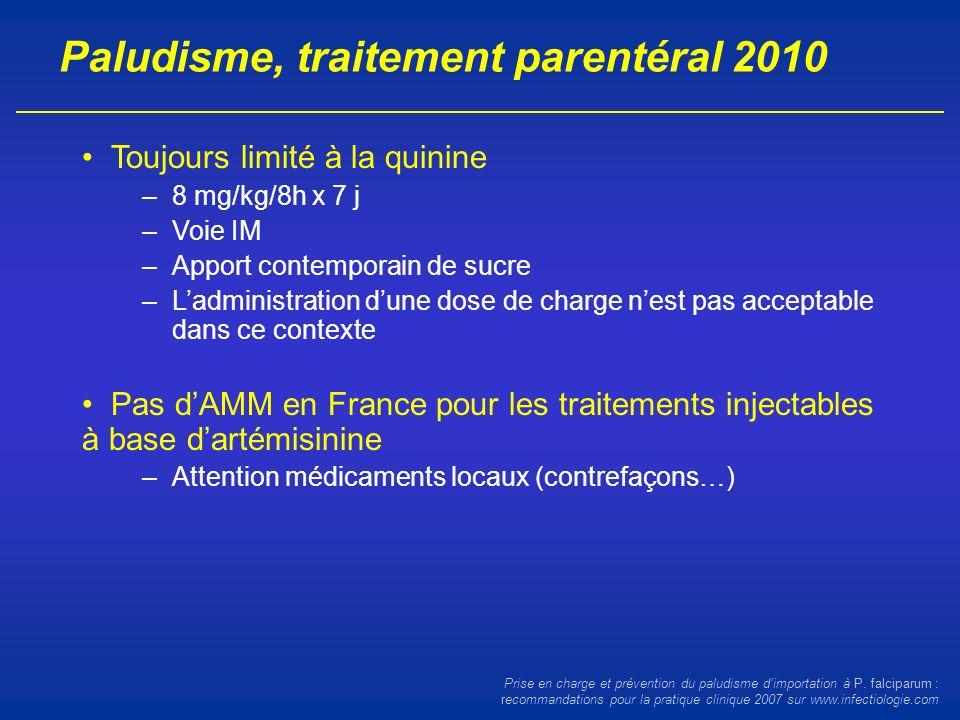 Paludisme, traitement parentéral 2010