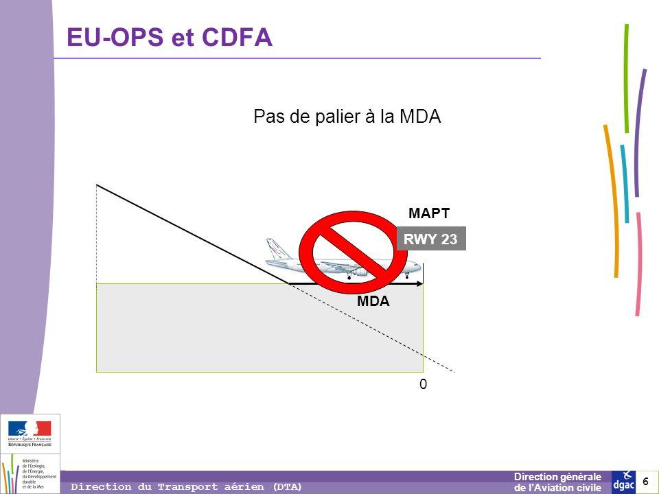 EU-OPS et CDFA Pas de palier à la MDA MAPT RWY 23 MDA 6