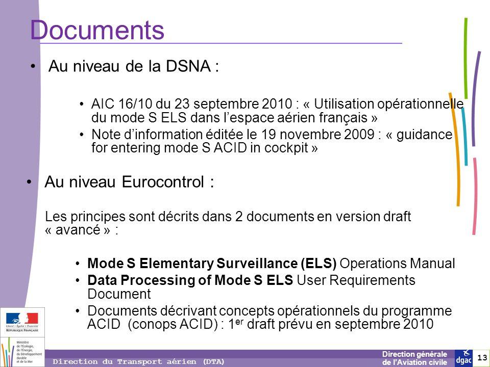 Documents Au niveau de la DSNA : Au niveau Eurocontrol :