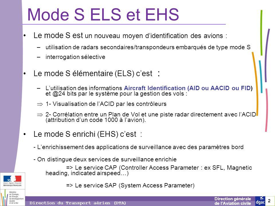 Mode S ELS et EHS Le mode S est un nouveau moyen d'identification des avions :
