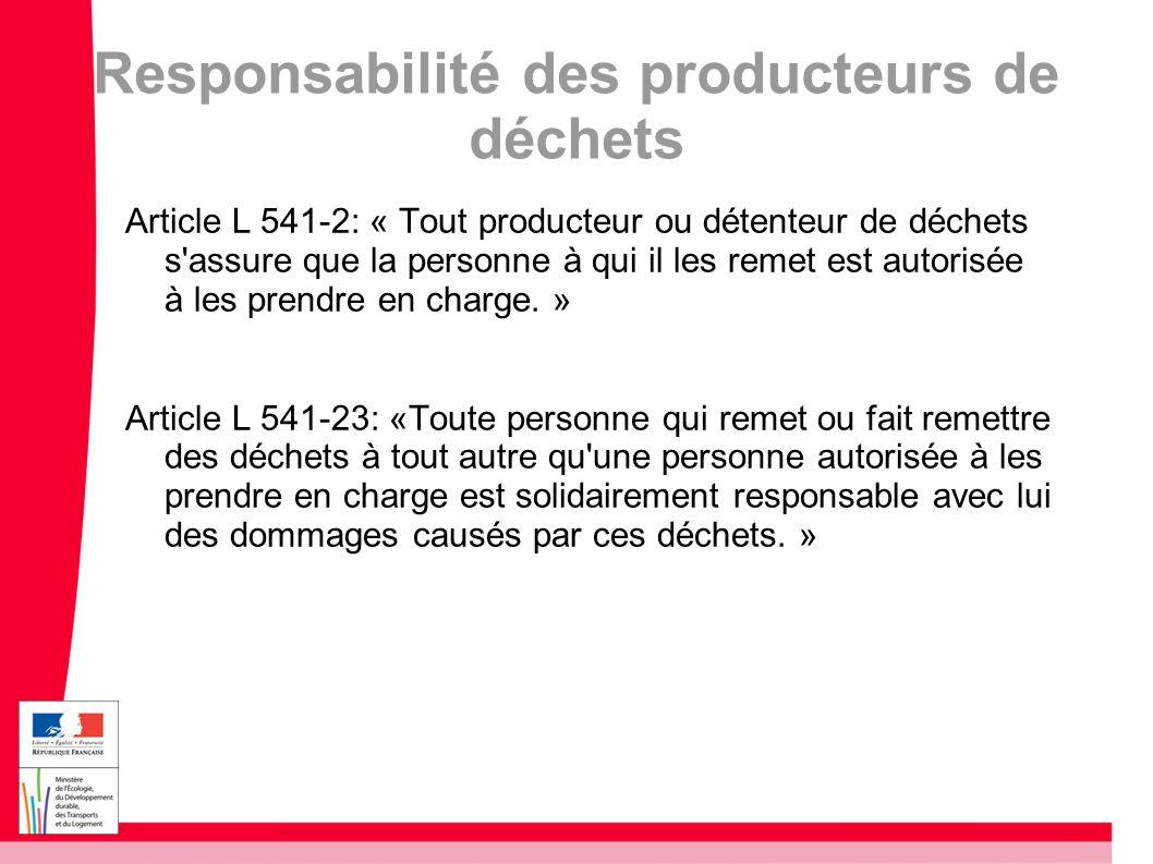 Responsabilité des producteurs de déchets
