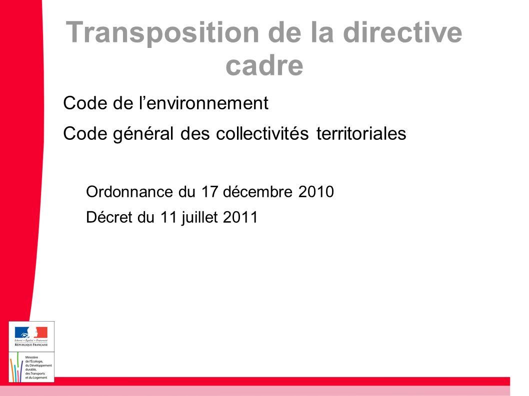 Transposition de la directive cadre