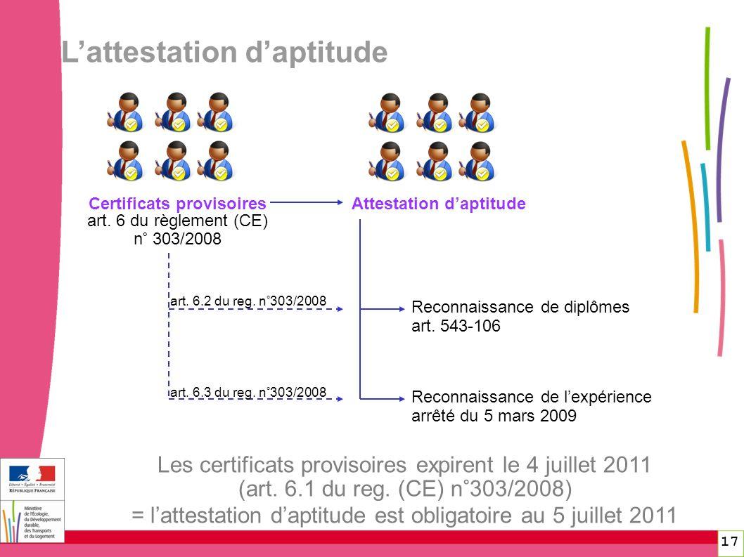 Certificats provisoires Attestation d'aptitude