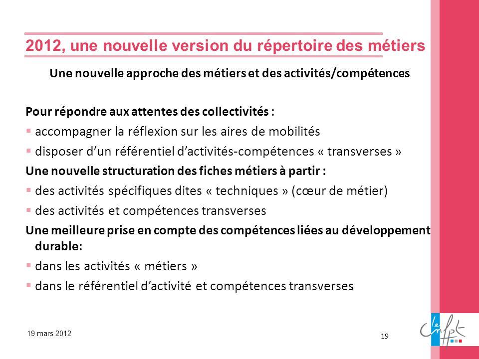 Une nouvelle approche des métiers et des activités/compétences