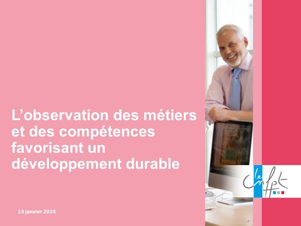 L'observation des métiers et des compétences favorisant un développement durable