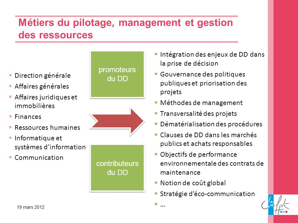 Métiers du pilotage, management et gestion des ressources