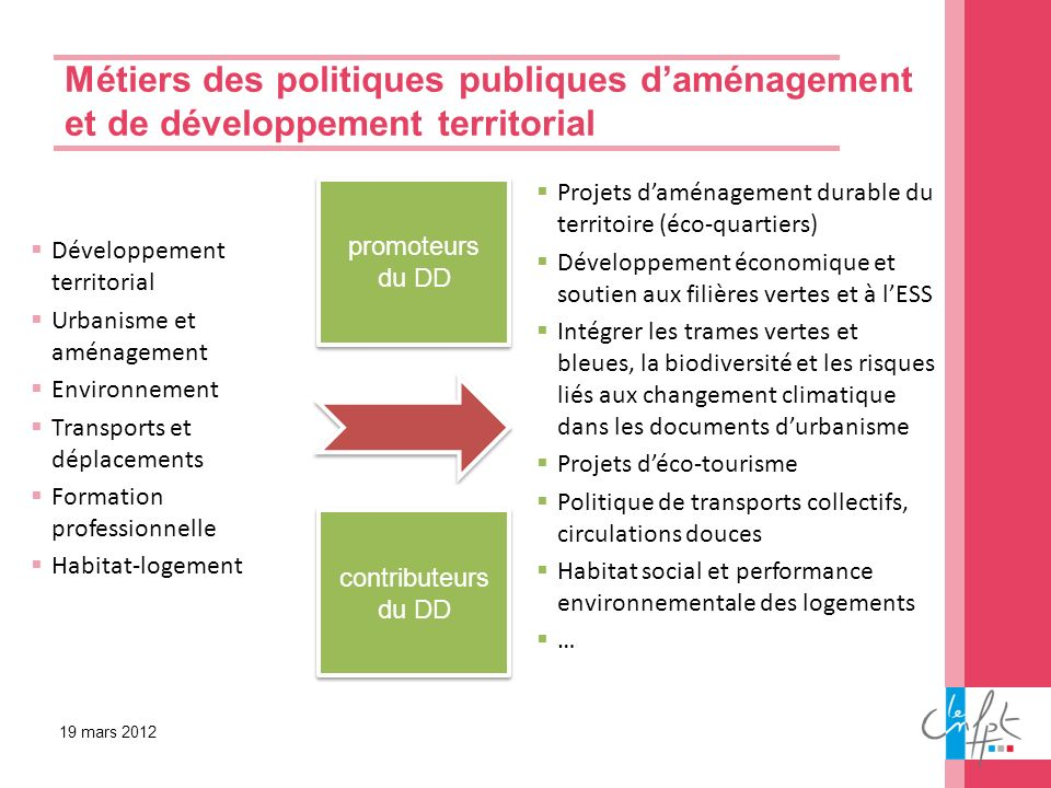 Métiers des politiques publiques d'aménagement et de développement territorial