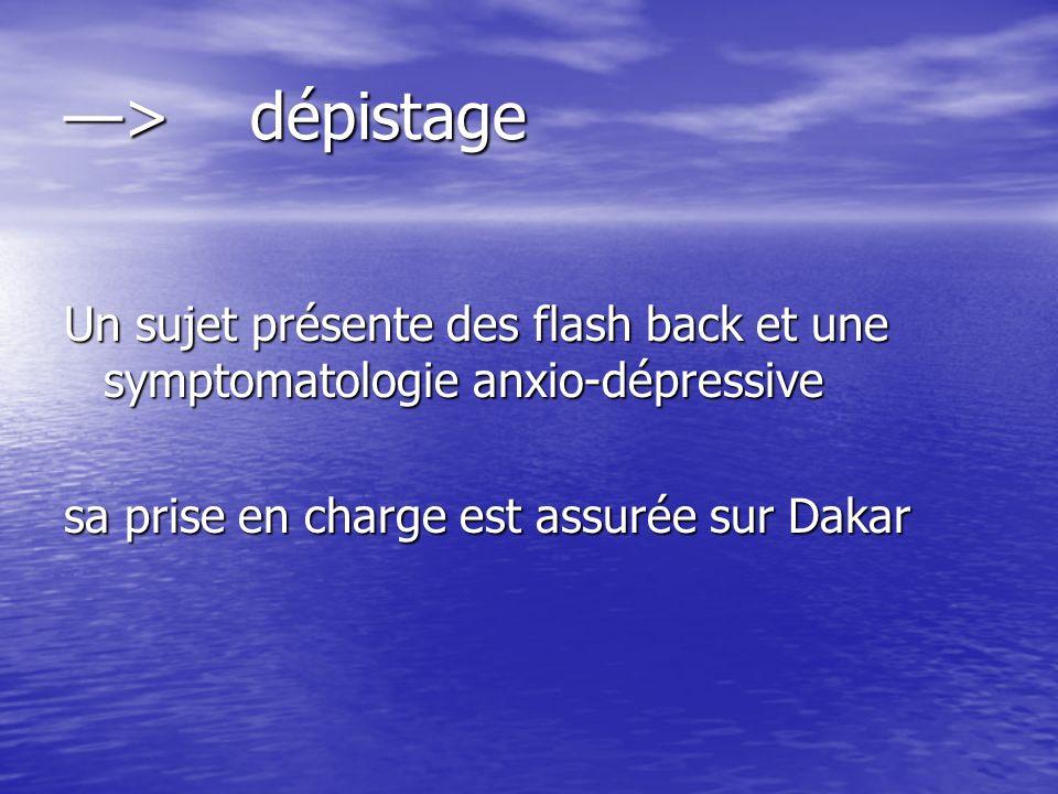 —> dépistage Un sujet présente des flash back et une symptomatologie anxio-dépressive.