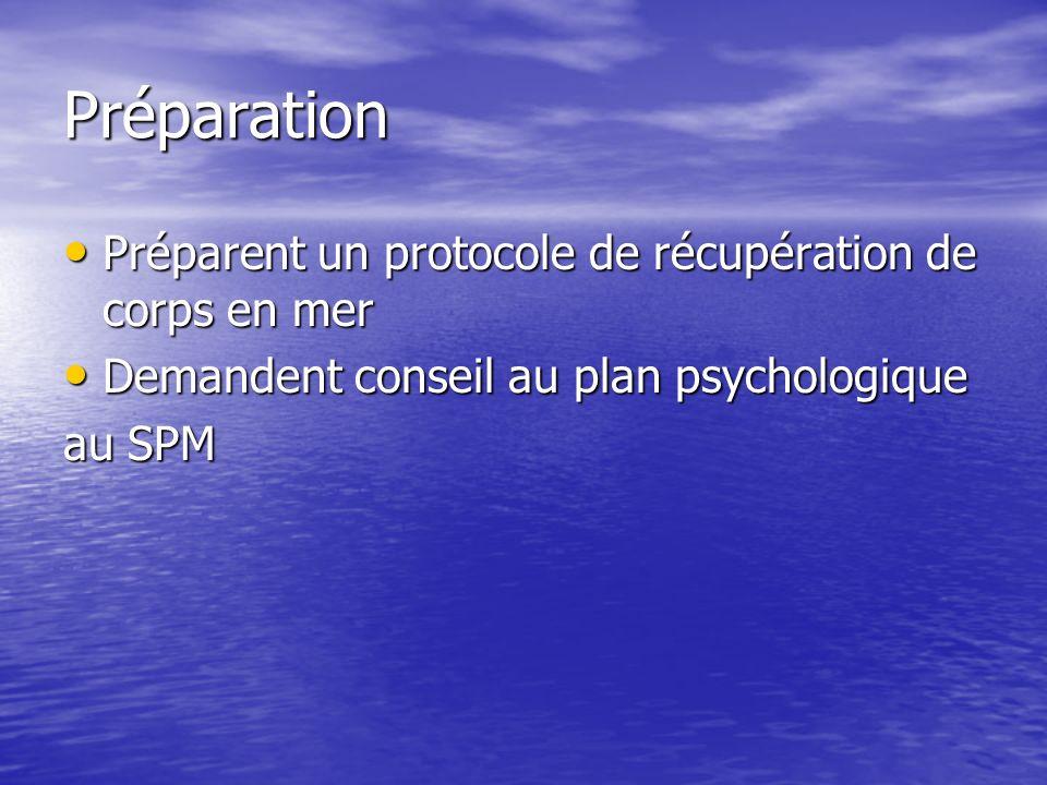 Préparation Préparent un protocole de récupération de corps en mer