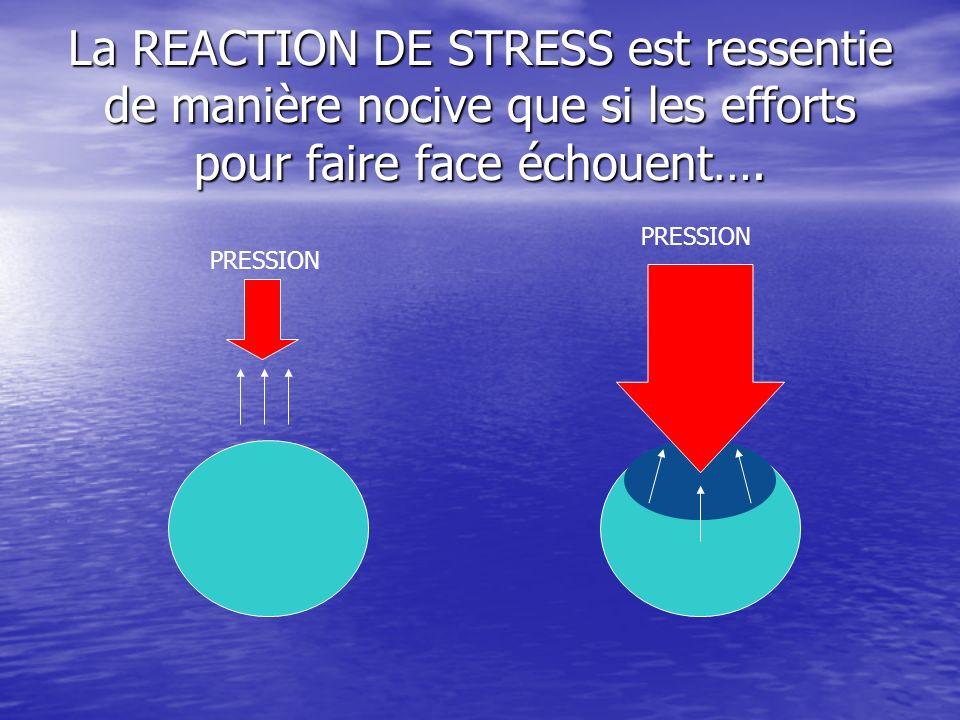 La REACTION DE STRESS est ressentie de manière nocive que si les efforts pour faire face échouent….