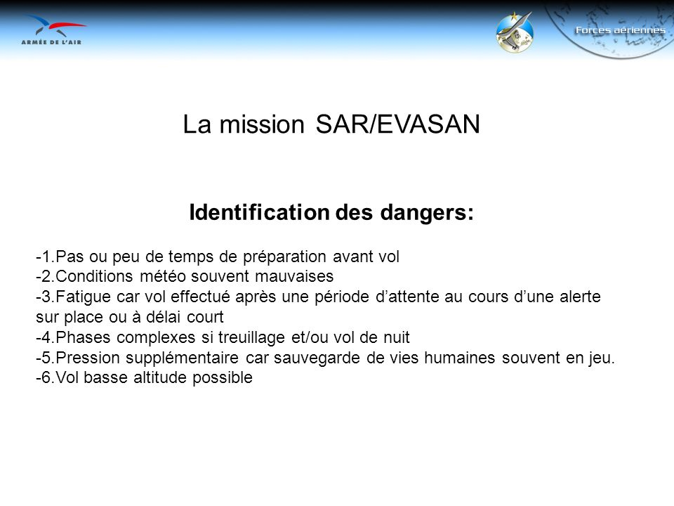 Identification des dangers: