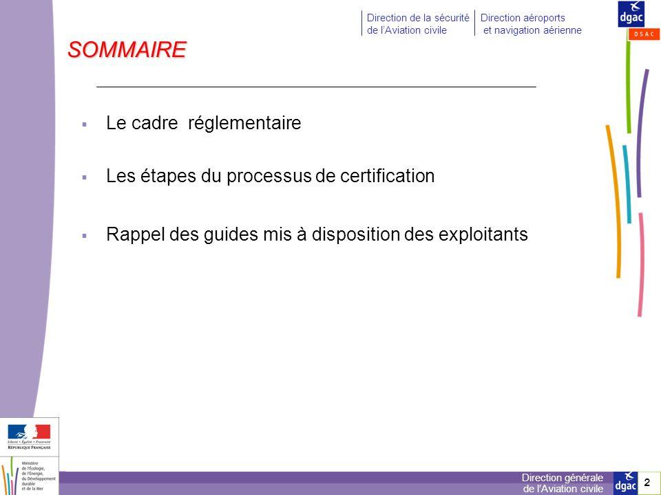 SOMMAIRE Le cadre réglementaire