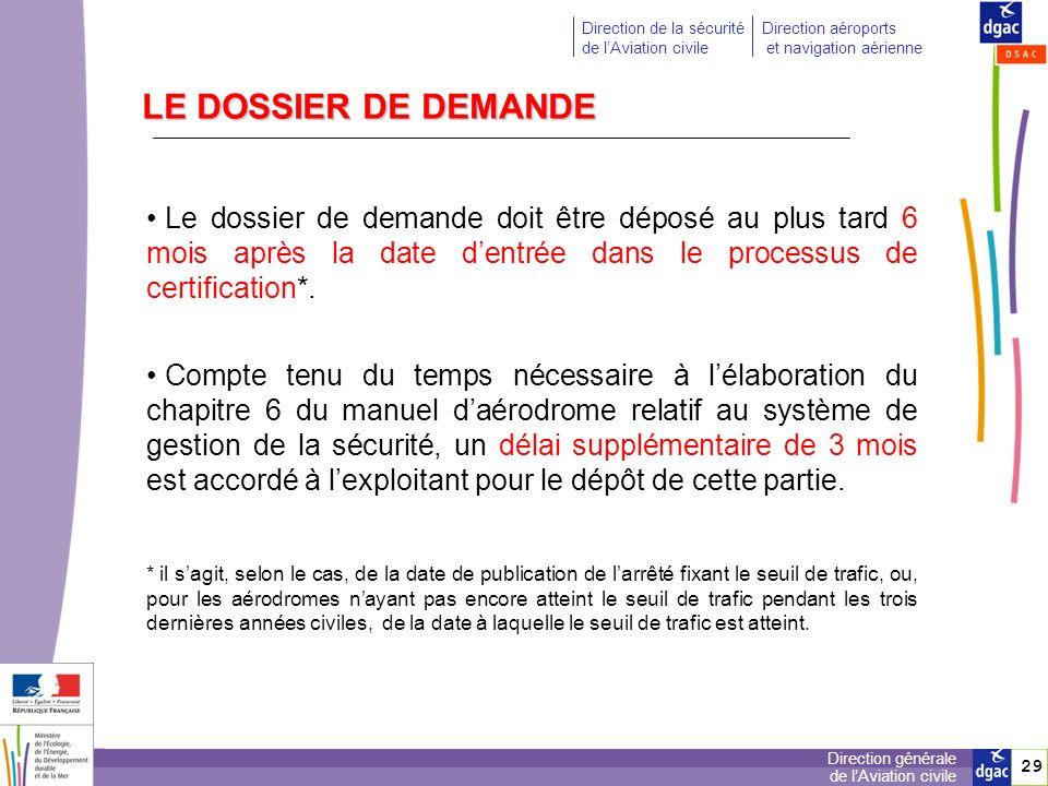 LE DOSSIER DE DEMANDE Le dossier de demande doit être déposé au plus tard 6 mois après la date d'entrée dans le processus de certification*.