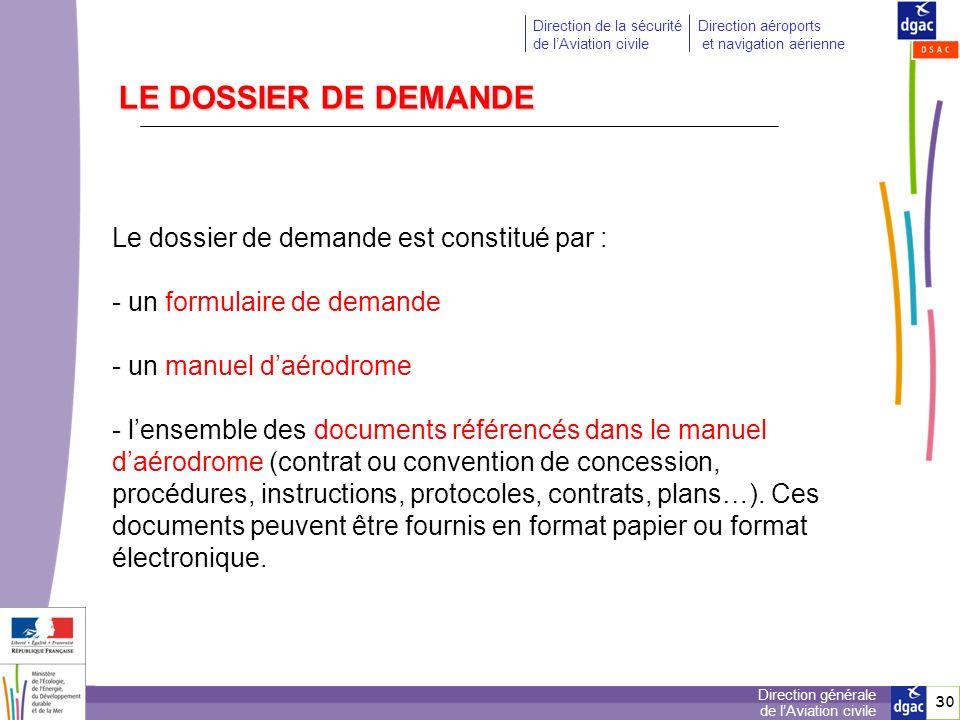 LE DOSSIER DE DEMANDE Le dossier de demande est constitué par :