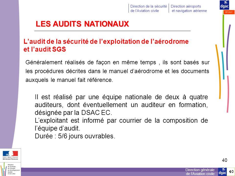 LES AUDITS NATIONAUX L'audit de la sécurité de l'exploitation de l'aérodrome. et l'audit SGS.