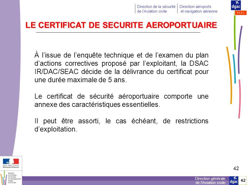 LE CERTIFICAT DE SECURITE AEROPORTUAIRE