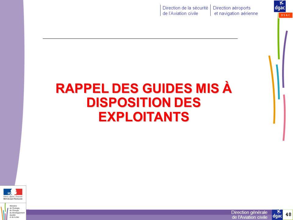 RAPPEL DES GUIDES MIS À DISPOSITION DES EXPLOITANTS