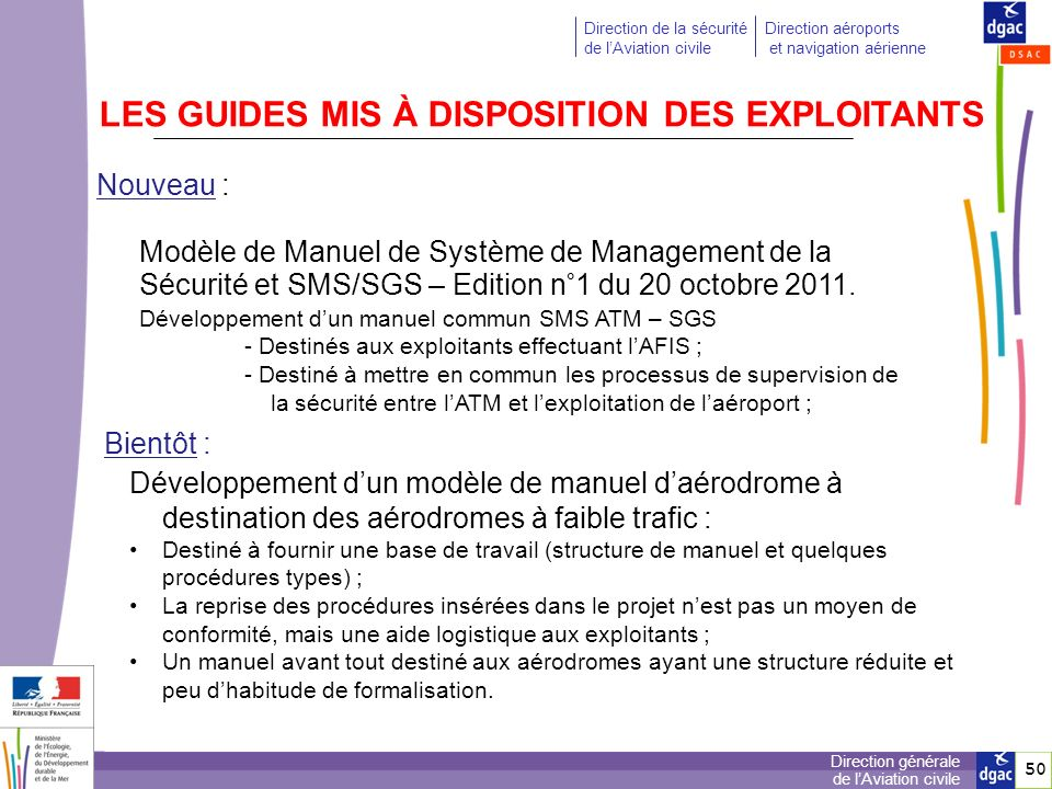 LES GUIDES MIS À DISPOSITION DES EXPLOITANTS