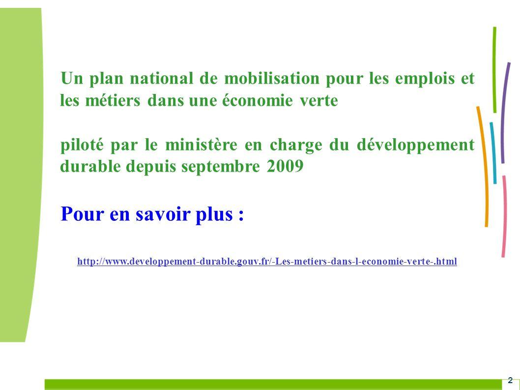 Un plan national de mobilisation pour les emplois et les métiers dans une économie verte