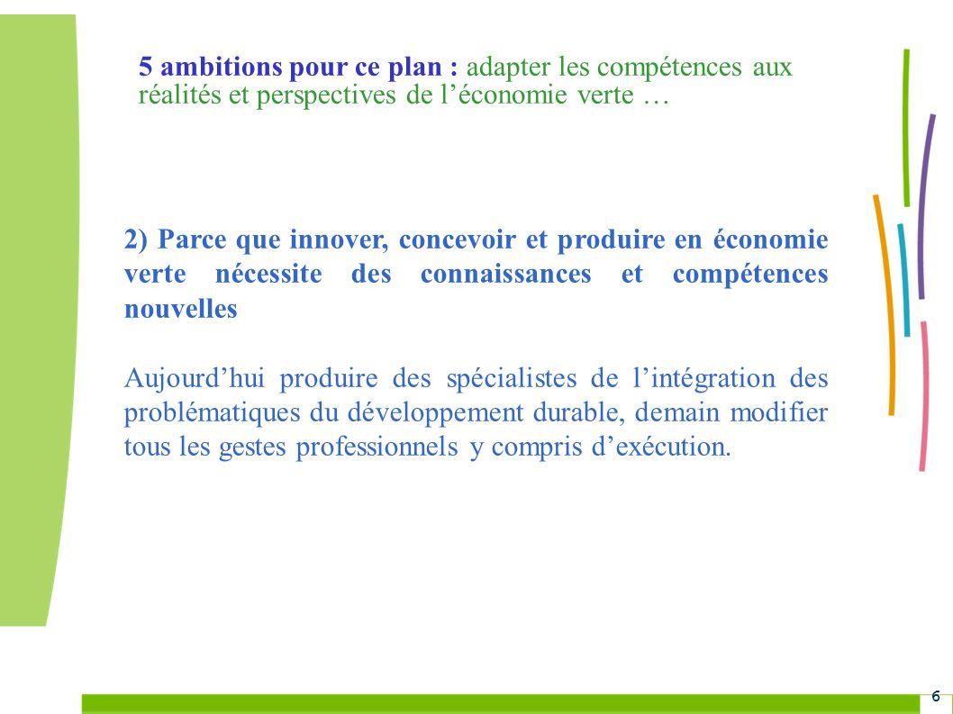 5 ambitions pour ce plan : adapter les compétences aux réalités et perspectives de l'économie verte …