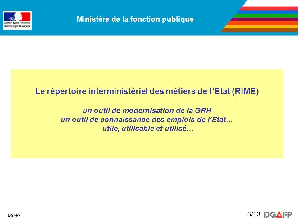 Le répertoire interministériel des métiers de l'Etat (RIME) un outil de modernisation de la GRH un outil de connaissance des emplois de l'Etat… utile, utilisable et utilisé…