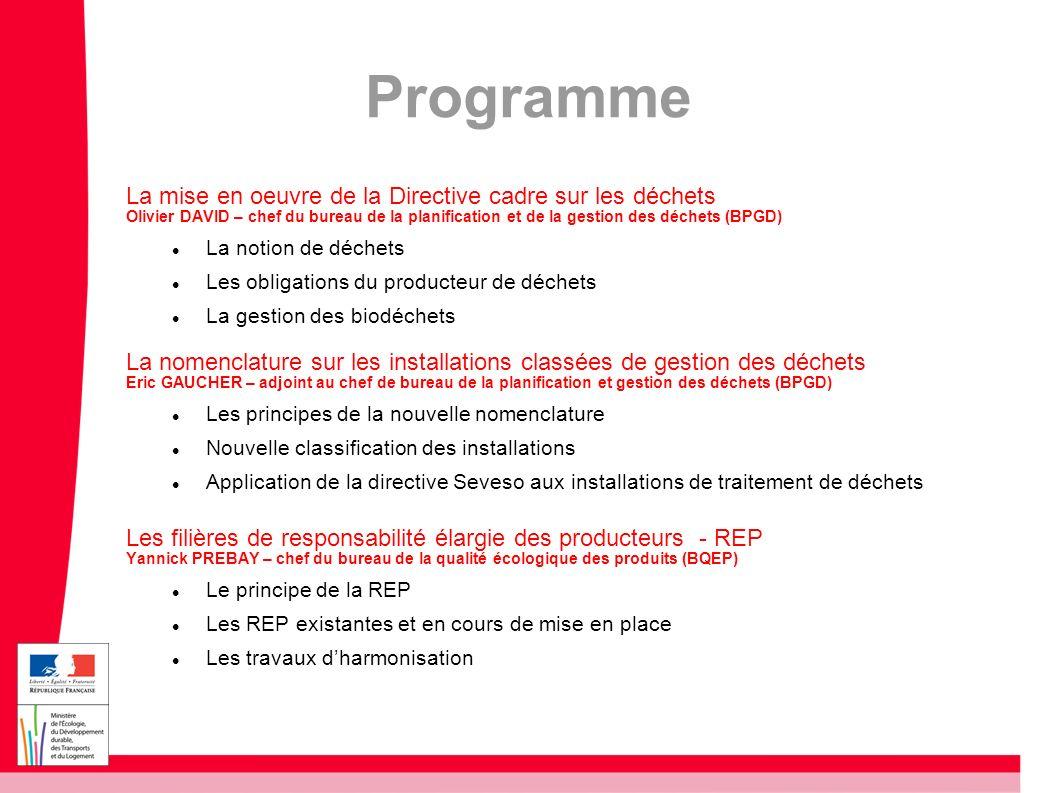 Programme La mise en oeuvre de la Directive cadre sur les déchets