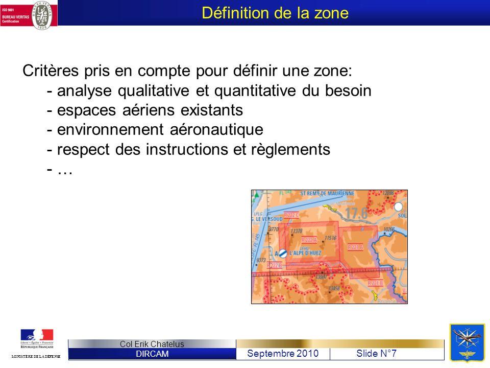 Définition de la zone Critères pris en compte pour définir une zone: analyse qualitative et quantitative du besoin.