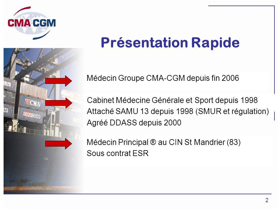 Présentation Rapide Médecin Groupe CMA-CGM depuis fin 2006