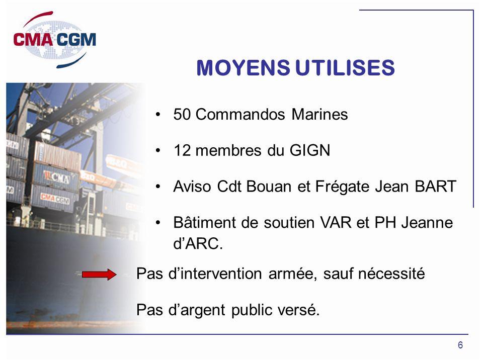 MOYENS UTILISES 50 Commandos Marines 12 membres du GIGN