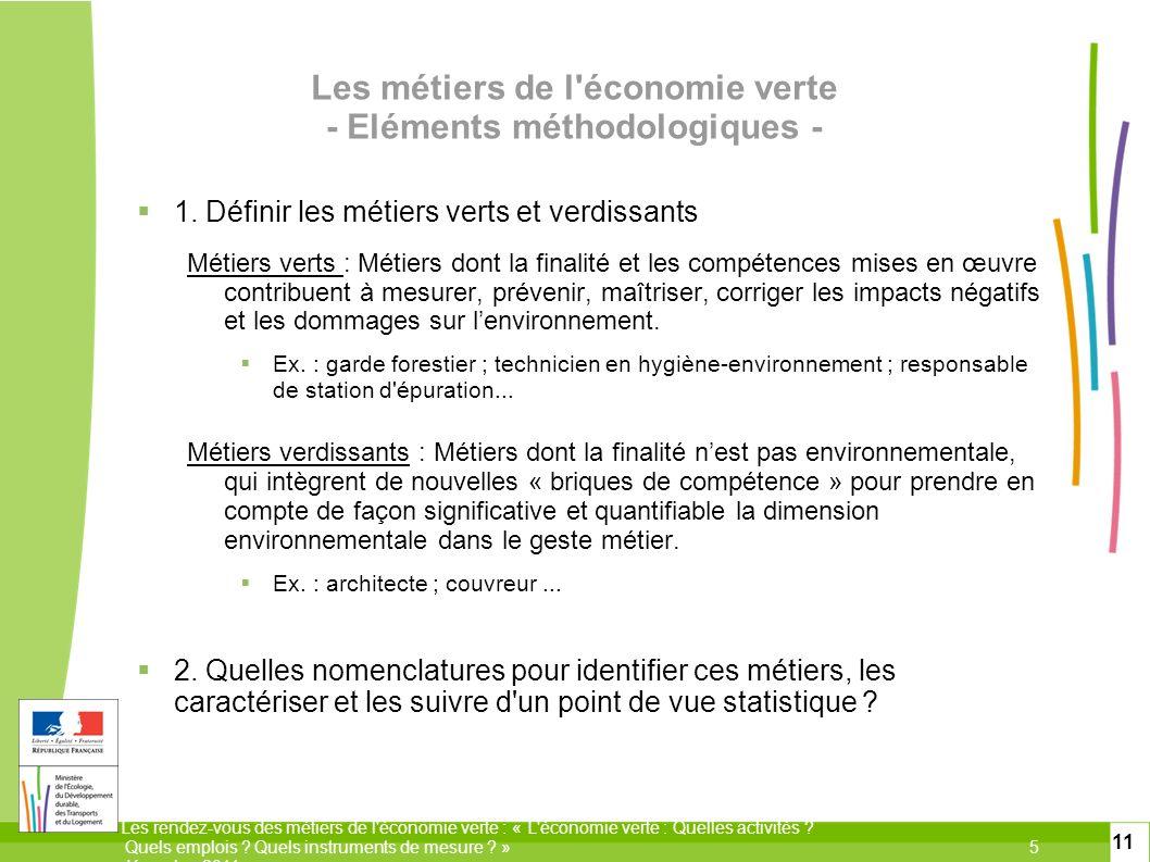 Les métiers de l économie verte - Eléments méthodologiques -