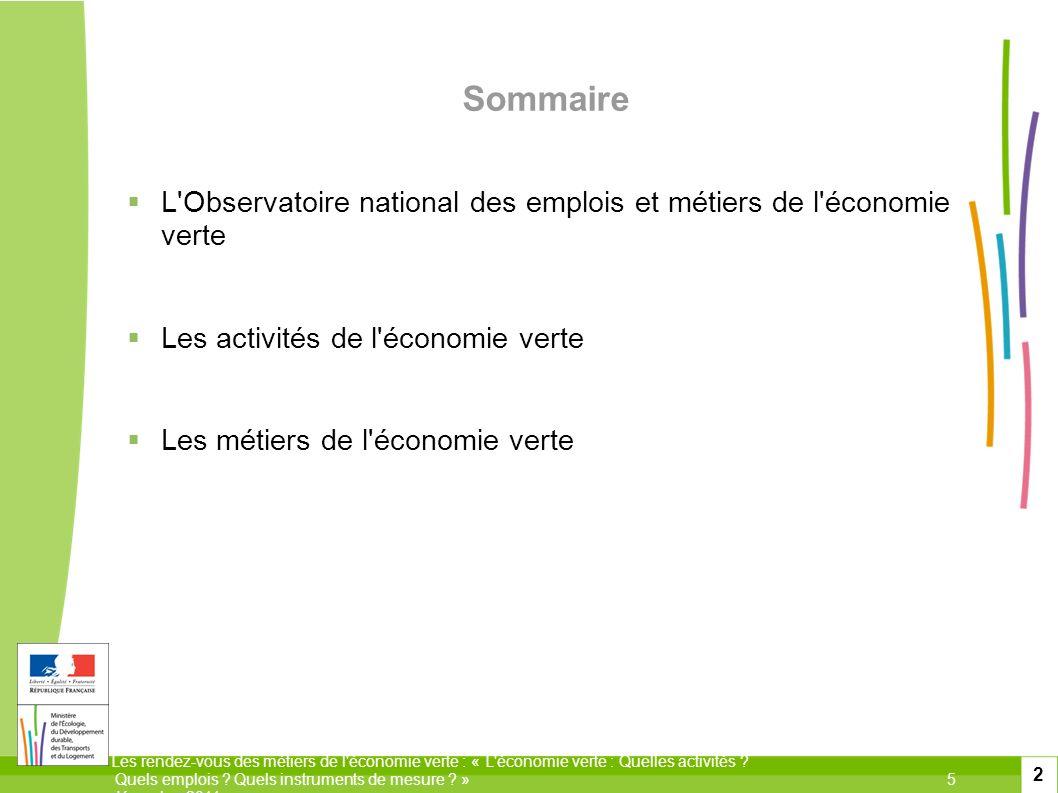 Sommaire L Observatoire national des emplois et métiers de l économie verte. Les activités de l économie verte.