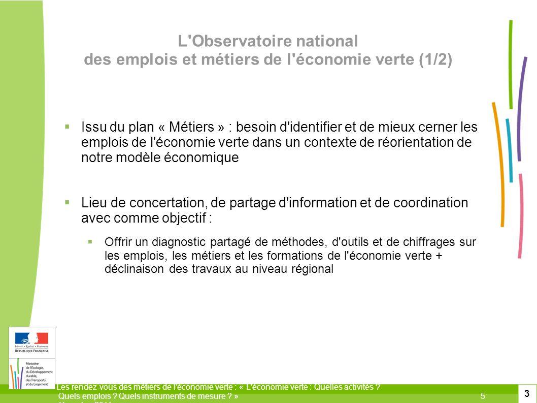 L Observatoire national des emplois et métiers de l économie verte (1/2)