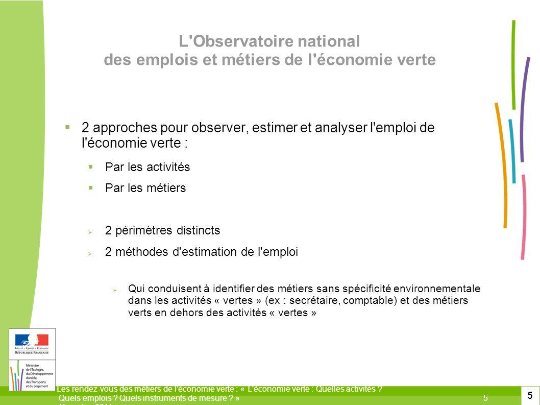 L Observatoire national des emplois et métiers de l économie verte