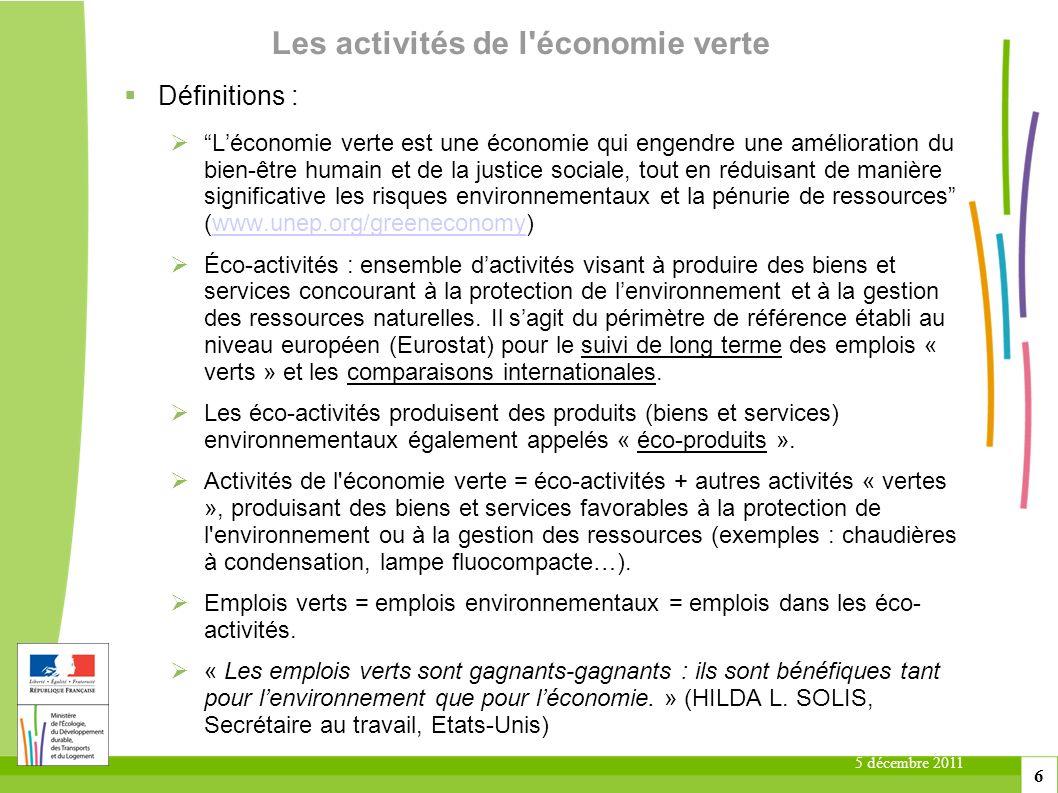 Les activités de l économie verte