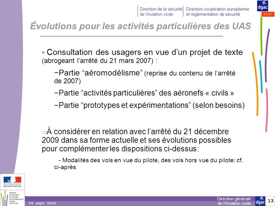 Évolutions pour les activités particulières des UAS