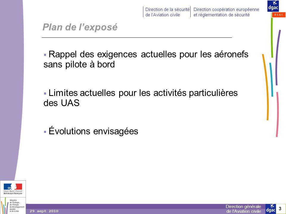 Plan de l'exposé Rappel des exigences actuelles pour les aéronefs sans pilote à bord. Limites actuelles pour les activités particulières des UAS.