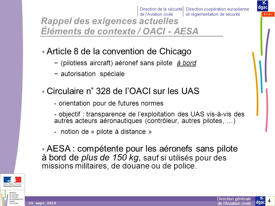 Rappel des exigences actuelles Éléments de contexte / OACI - AESA