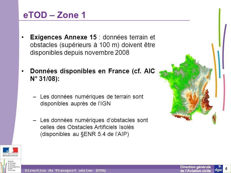 eTOD – Zone 1 Exigences Annexe 15 : données terrain et obstacles (supérieurs à 100 m) doivent être disponibles depuis novembre 2008.