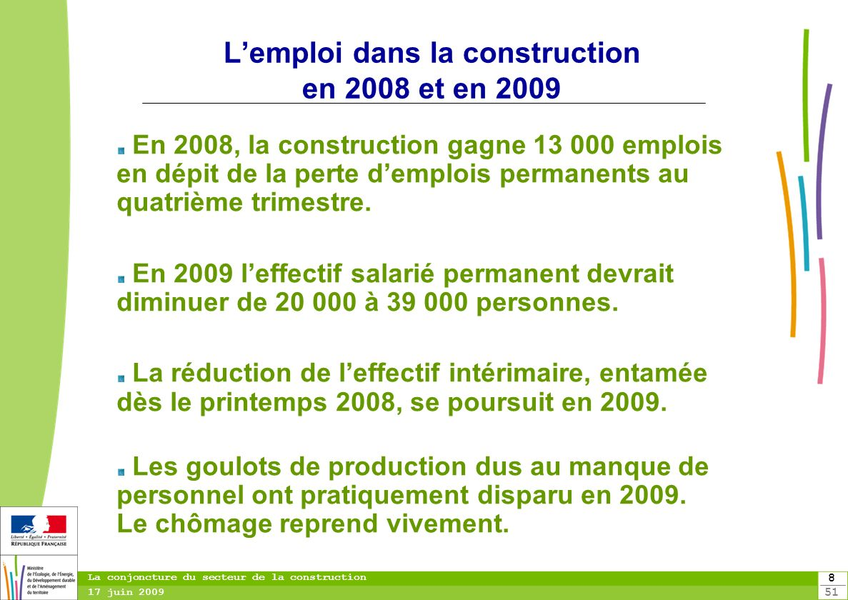 L'emploi dans la construction en 2008 et en 2009