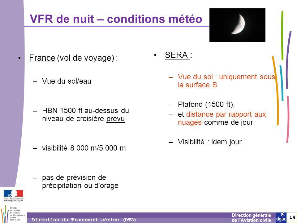 VFR de nuit – conditions météo