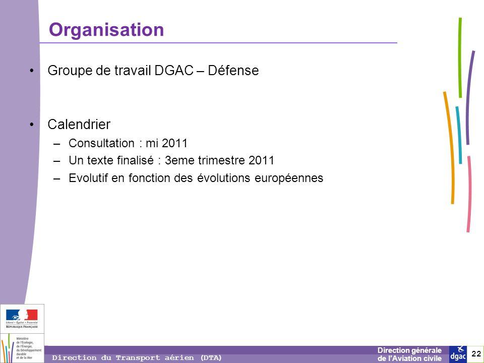 Organisation Groupe de travail DGAC – Défense Calendrier