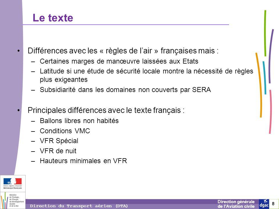 Le texte Différences avec les « règles de l'air » françaises mais :