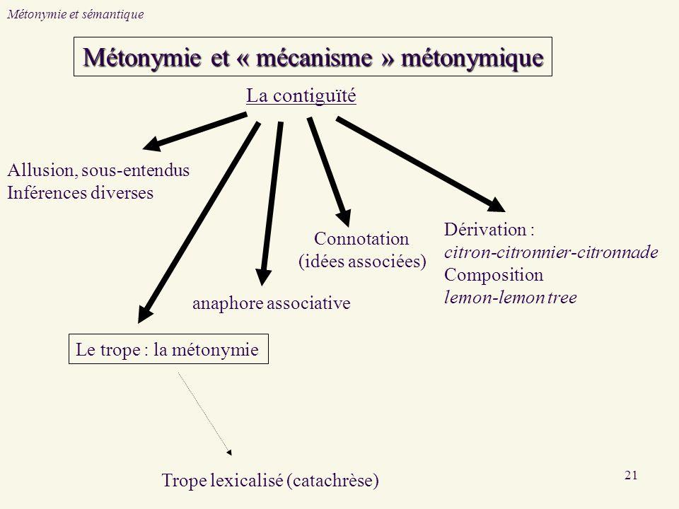 Métonymie et « mécanisme » métonymique