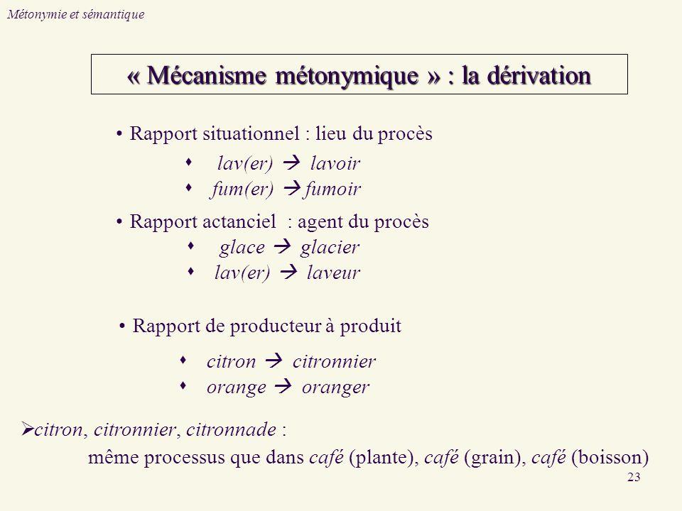 « Mécanisme métonymique » : la dérivation