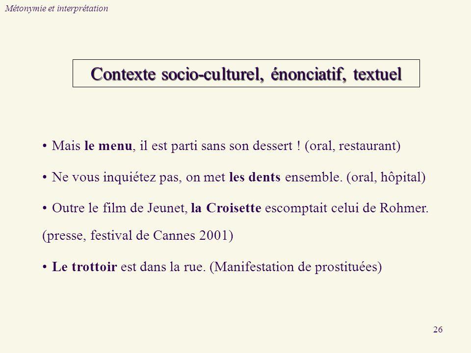 Contexte socio-culturel, énonciatif, textuel